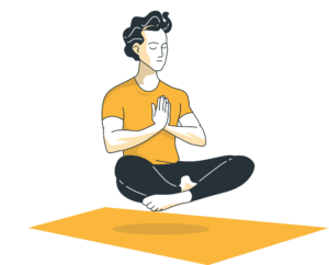 Mann in Yoga-Haltung schwebt mit geschlossenen Augen über eine Matte.